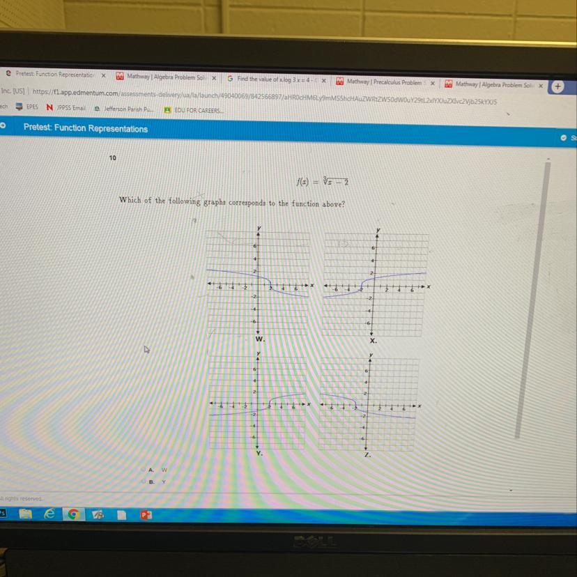 Which of the following graphs corresponds to the function ... on
