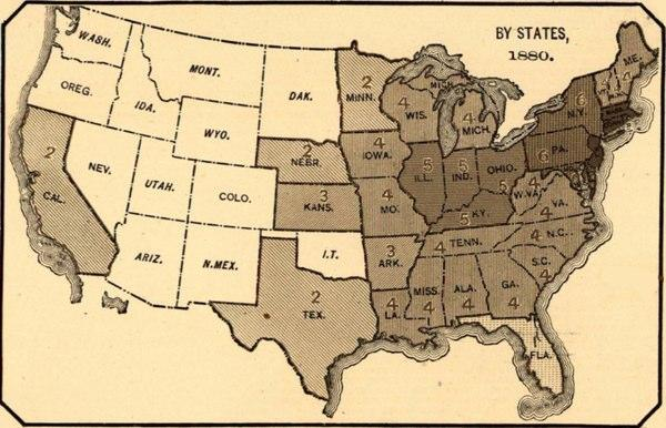 This Map Represents Data From The 1880 Us Census The Darker The - 1880-map-of-us