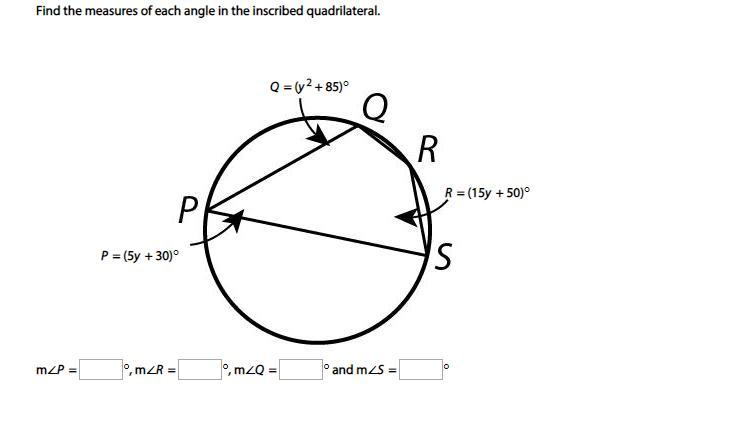 Find the measures of each angle in the inscribed ...