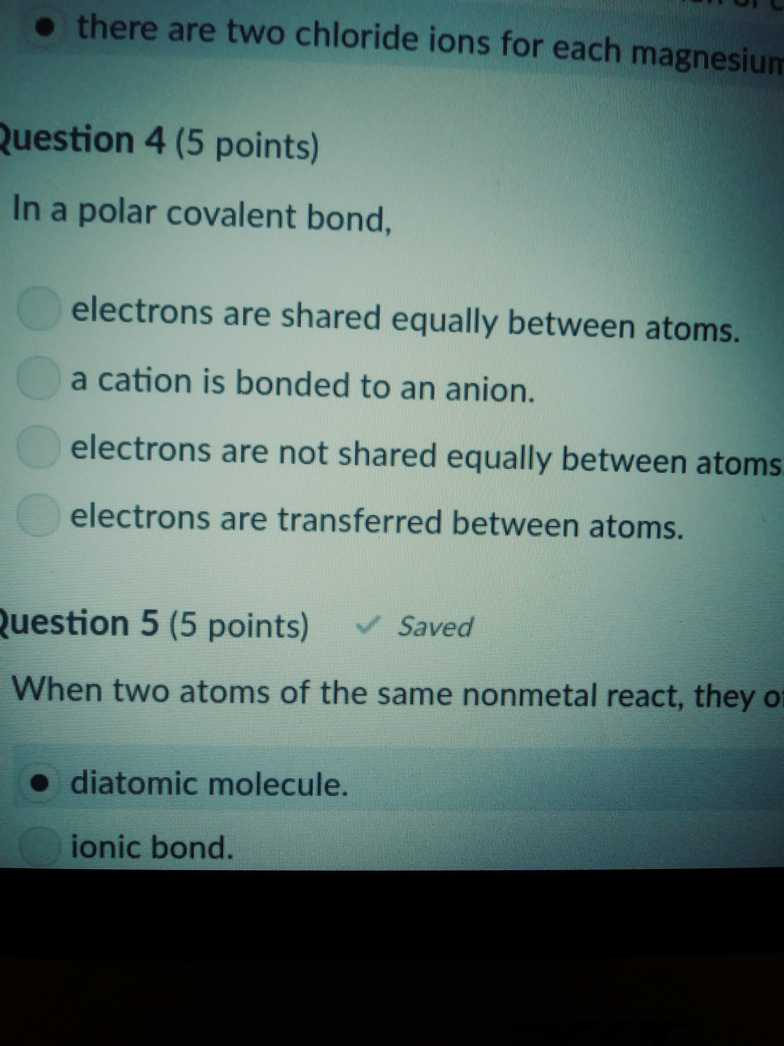 Q  18 in a polar covalent bond   Brainly.com