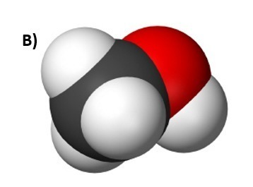 The molecular formula for methanol is CH3OH  Which model shows