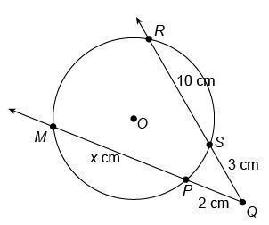 Two secant segments intersect outside a circle as shown