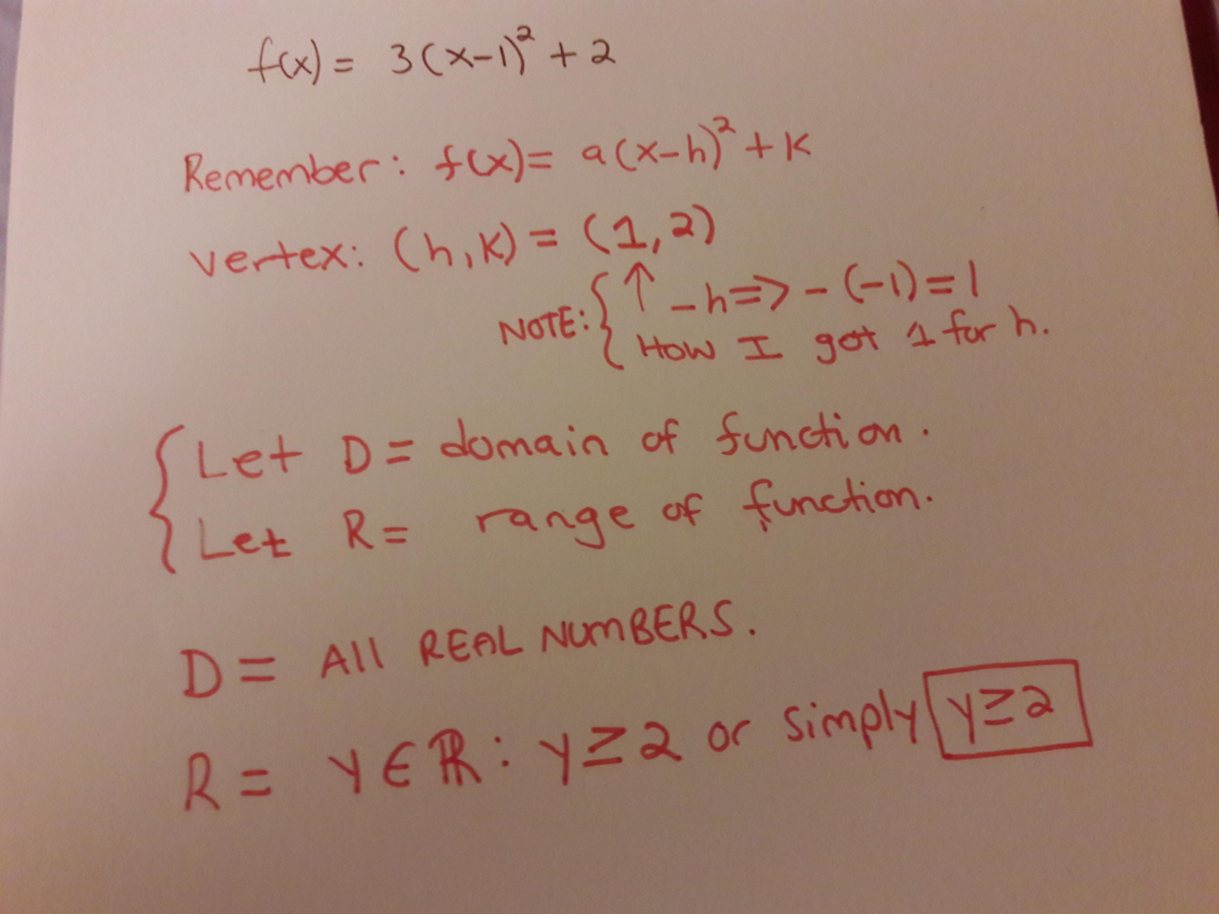 For the function f(x) = 3(x − 1)2 + 2, identify the vertex ...