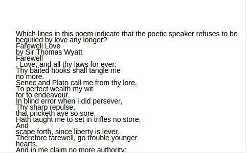 Which lines in this poem indicate that the poetic speaker ...