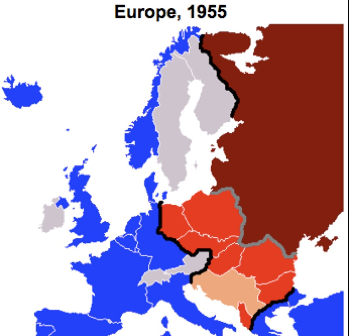 This map shows the politically polarized continent of Europe ...