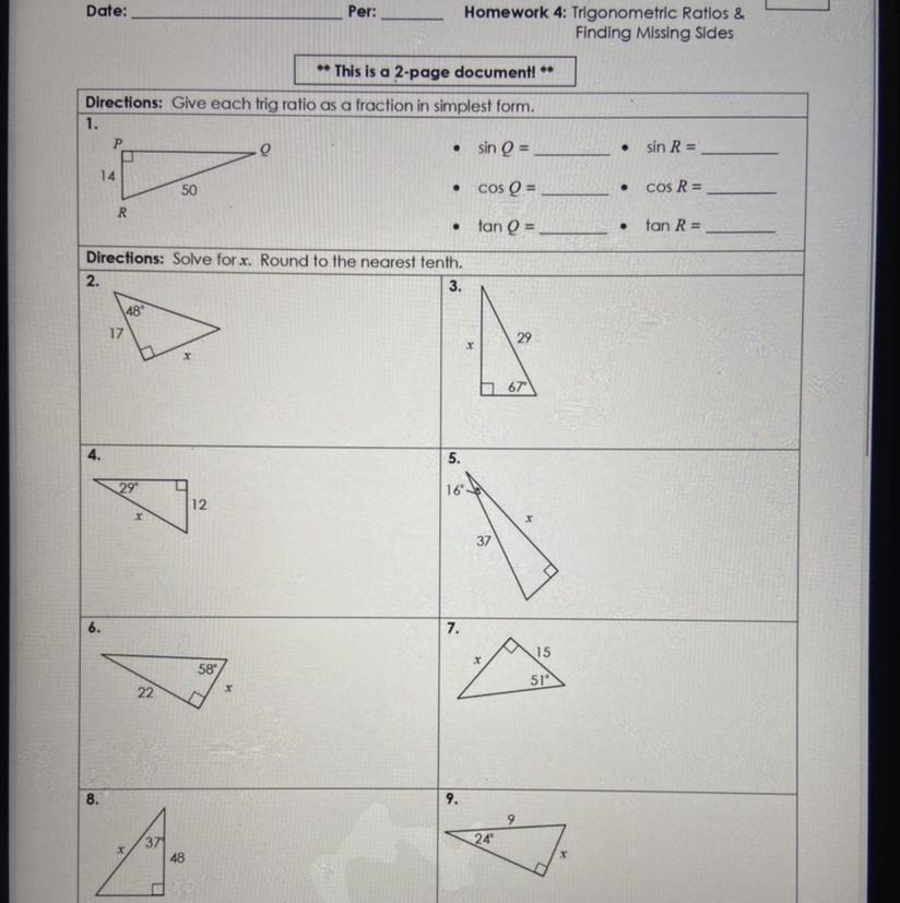 unit: 8 Right Triangles & Trigonometry Homework 4 ...