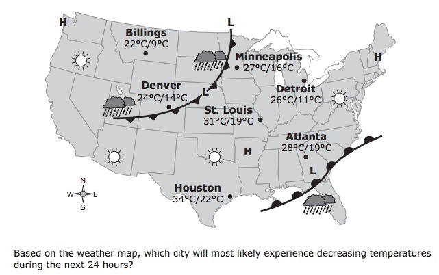 the weather map shows the weather conditions for one day across the on