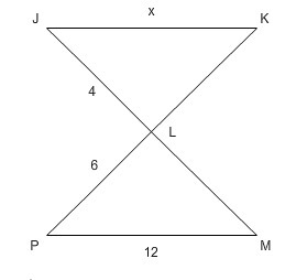 Triangles JKL and PML are similar  Find x  - Brainly com