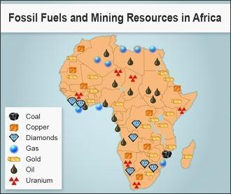 he map shows mining resources on the African continent. Which type