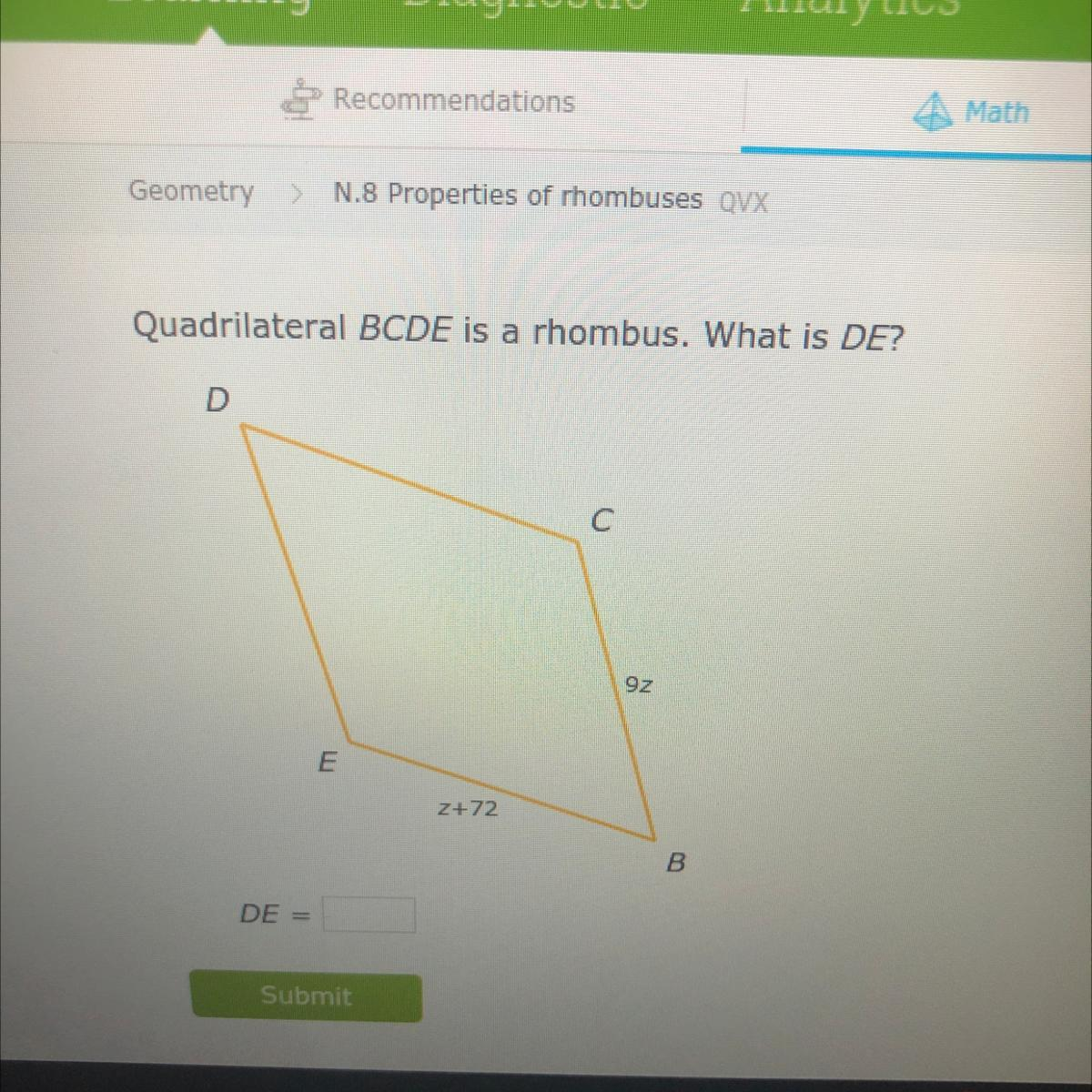 [Solved] If BCDE is congruent to OPQR , then DE is