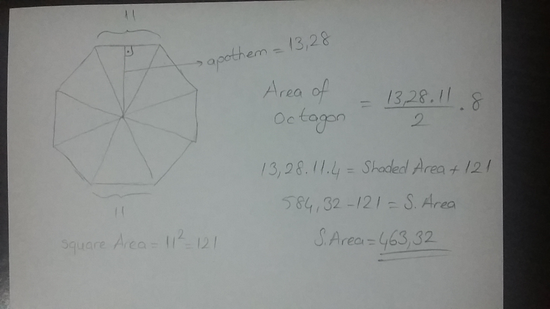 how to find the apothem of an octagon