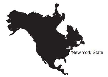 The map below shows the current location of New York State in North