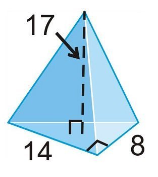 find the volume of the triangular pyramid to the nearest whole