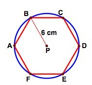 A regular hexagon is inscribed in a circle as shown ...