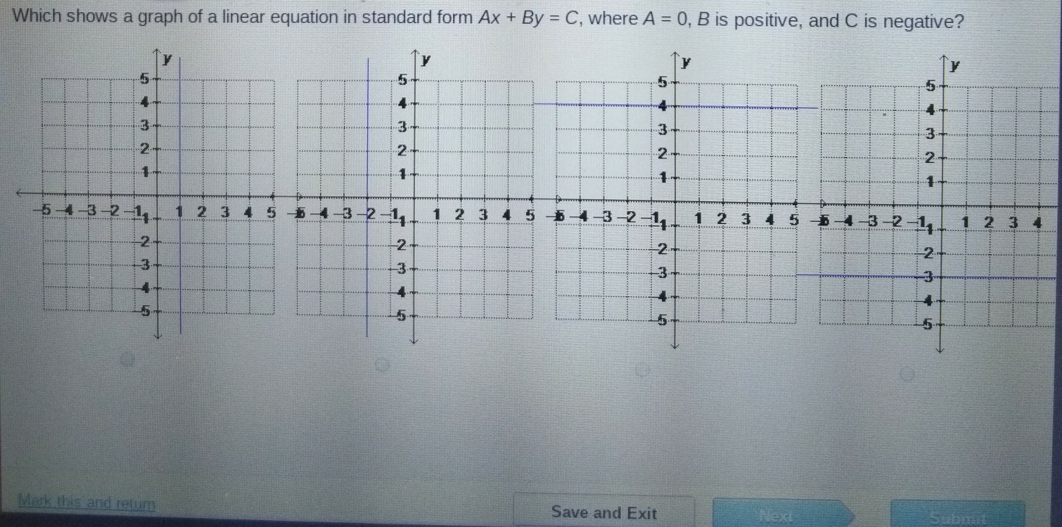 Which Shows A Graph Of A Linear Equation In Standard Form Axbyc