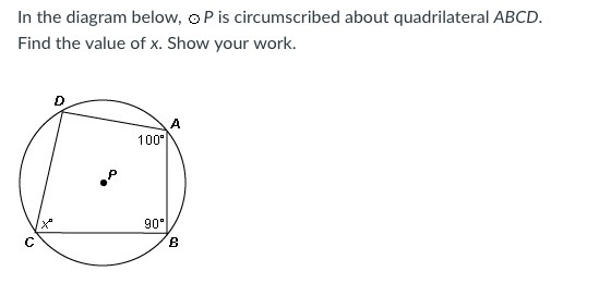 In the diagram below p is circumscribed about quadrilateral abcd download png ask for details follow ccuart Images