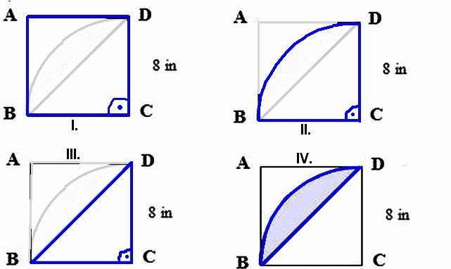 The figures below are made out of circles, semicircles ...