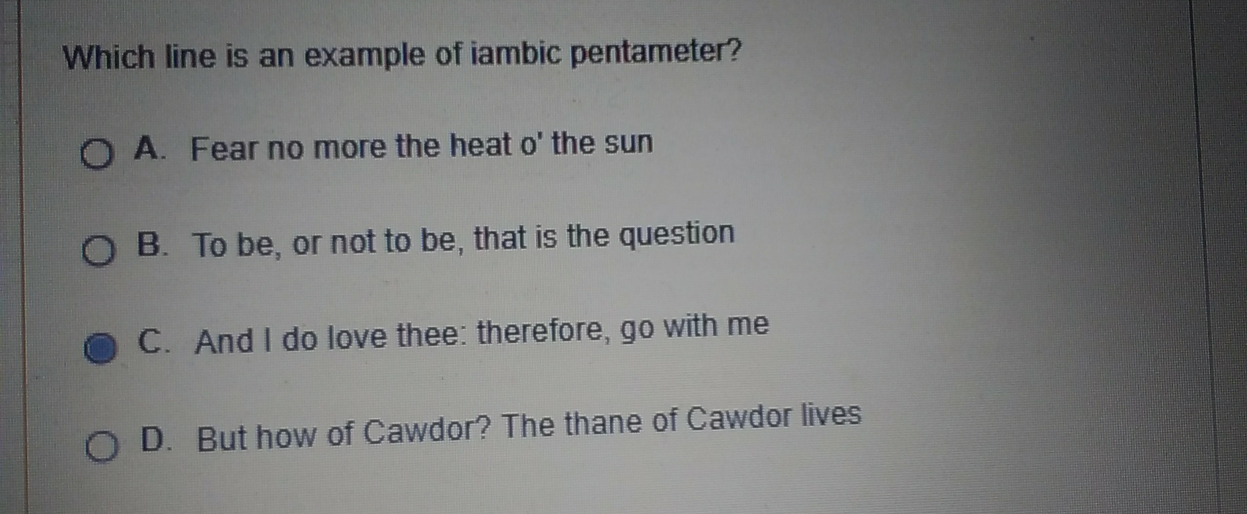 Which Line Is An Example Of Iambic Pentameter Brainly Com