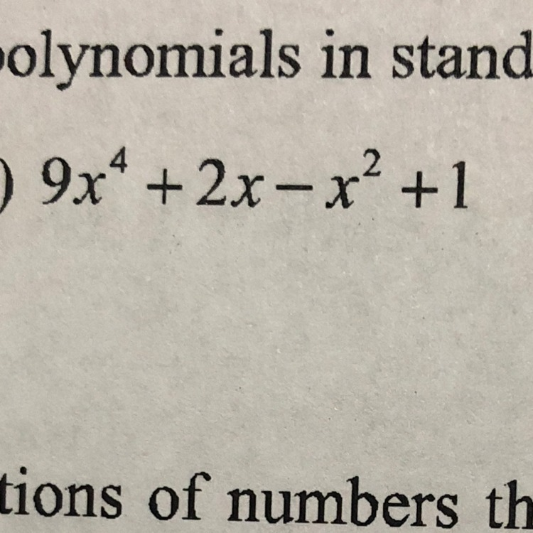 Write The Polynomial In Standard Form Please Help Brainly