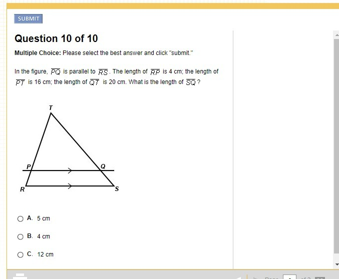In The Figure Pq Is Parallel To Rs The Legth Of Rp Is 4 Cm The Length Of Pt Is 16 Cm The Length Inly Com