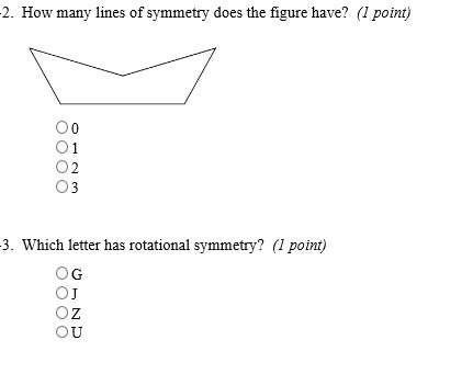 How many lines of symmetry does the figure have? Which letter has