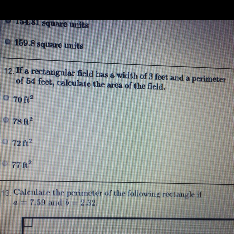 If the rectangular filed has a width of 3 feet and a
