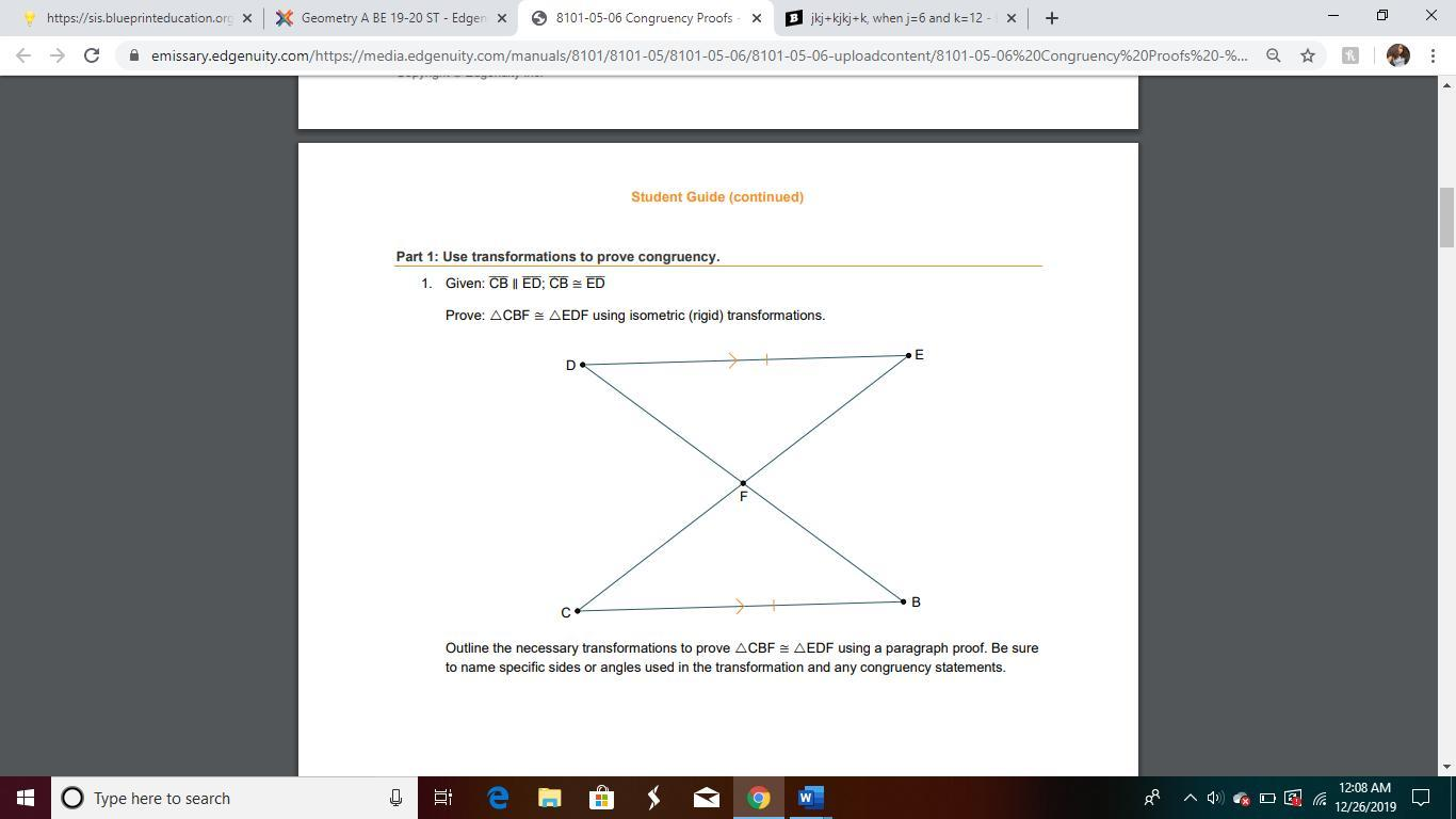 outline the necessary transformations to prove cbf ≅ edf