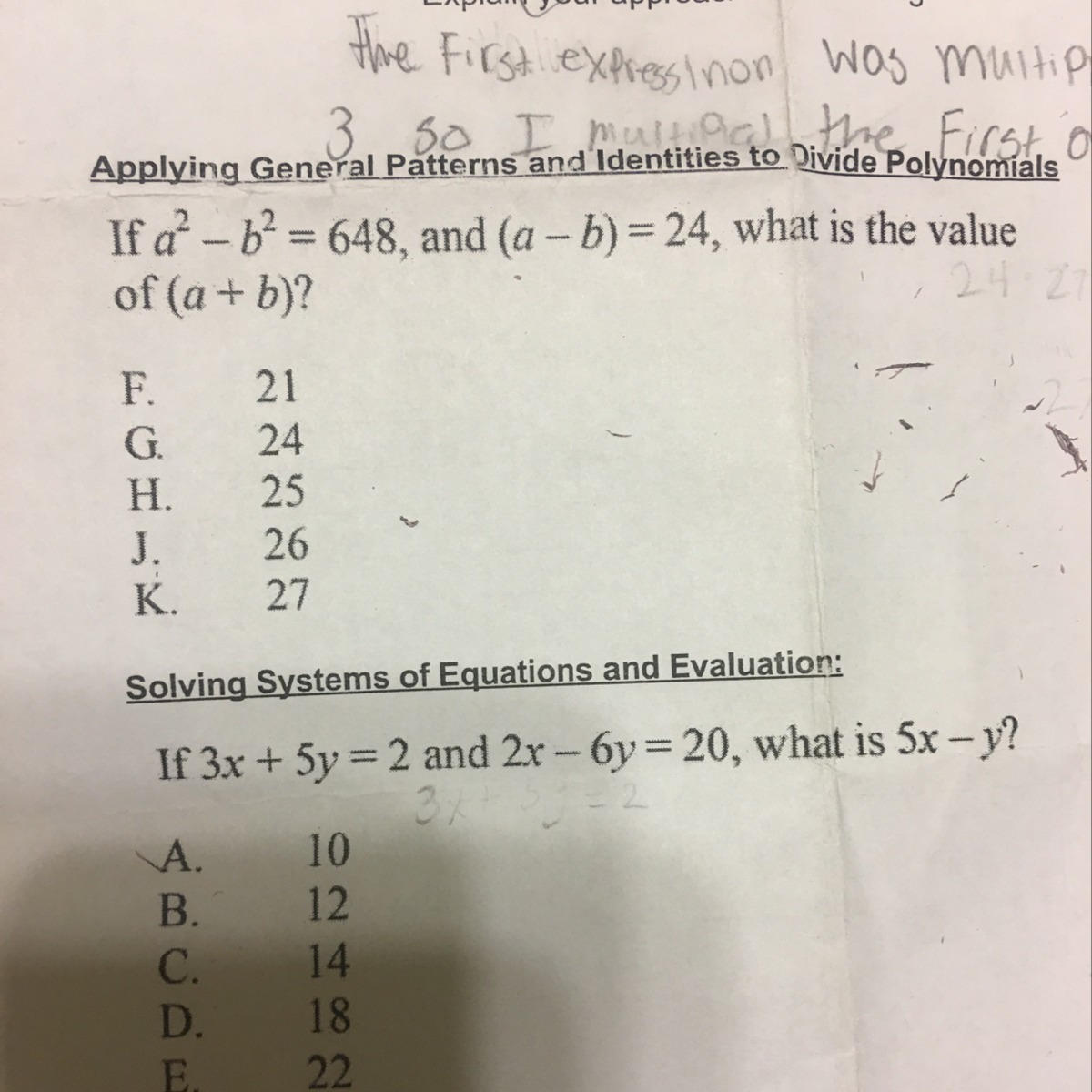 If A2 B2648 And Ab24 What Is The Value Of A B
