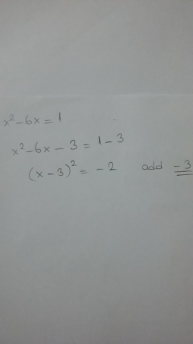 Amira Is Solving The Equation X2 – 6x = 1. Which Value Must Be Added To Both  Sides Of The Equation To - Brainly.com