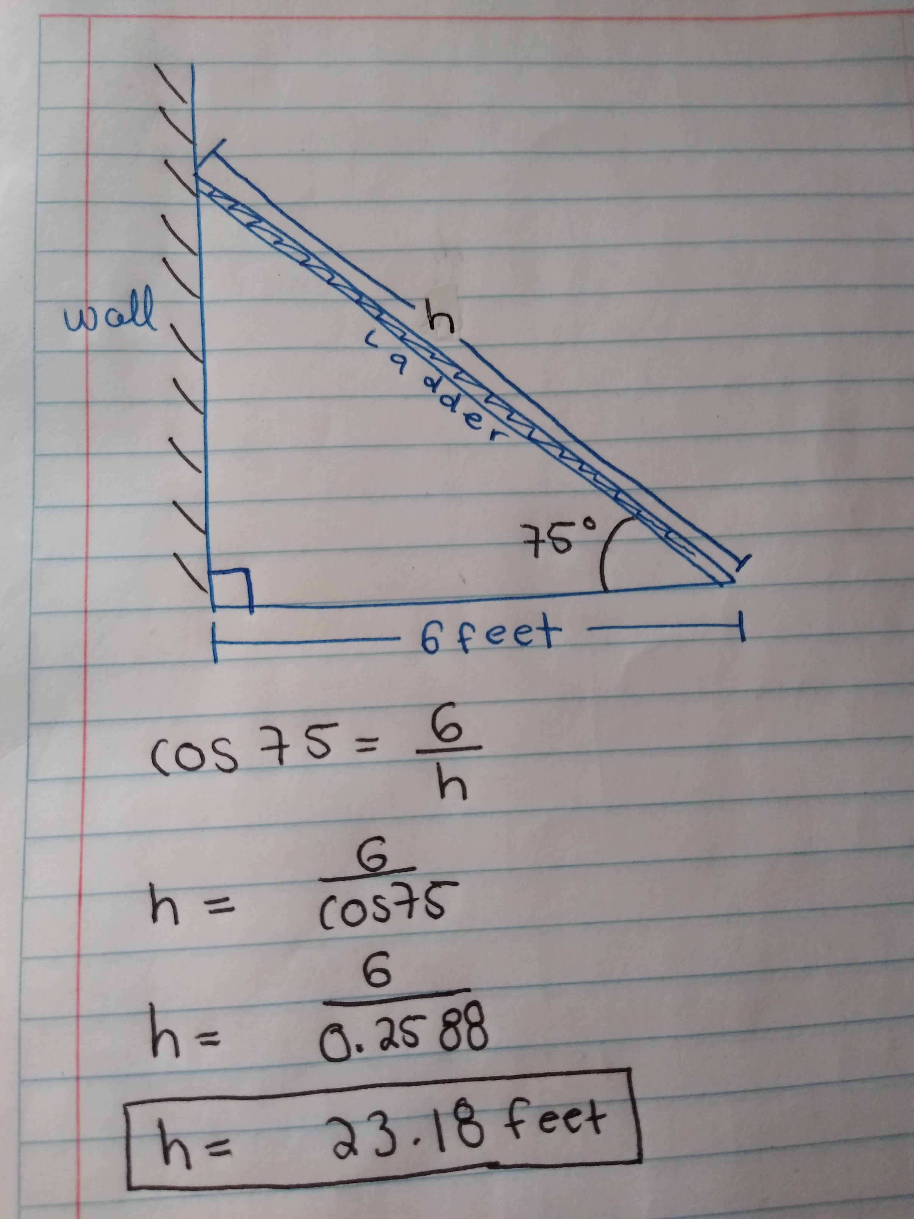 A Ladder Leaning Against A Wall Makes An Angle Of 75 With The Ground If The Foot Of The Ladder Is 6 Brainly Com
