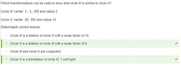 Which transformations can be used to show that circle M is