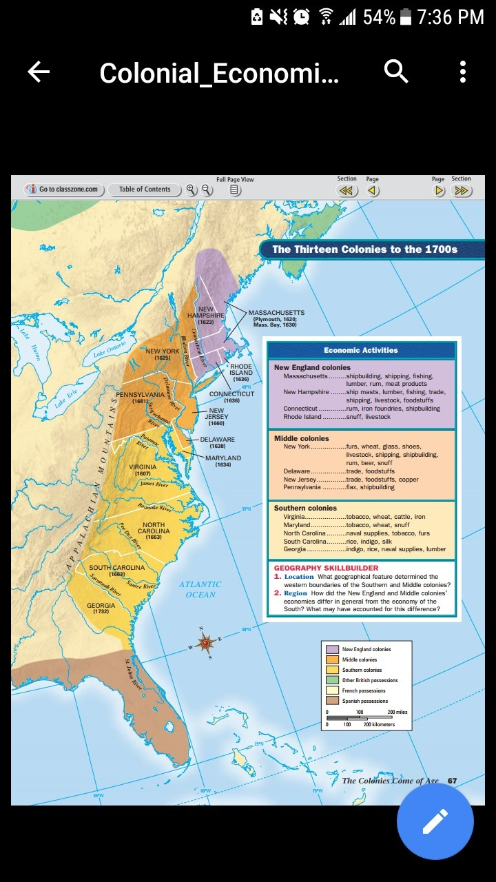 a look at the new england and southern colonies in the 1700s
