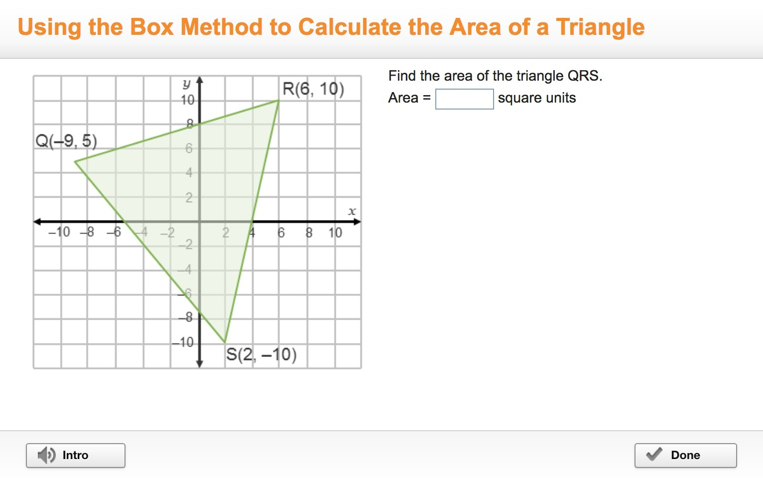 Please Answer Asap Find The Area Of The Triangle Qrs Area Square
