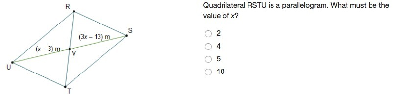 Quadrilateral RSTU is a parallelogram. What must be the ...
