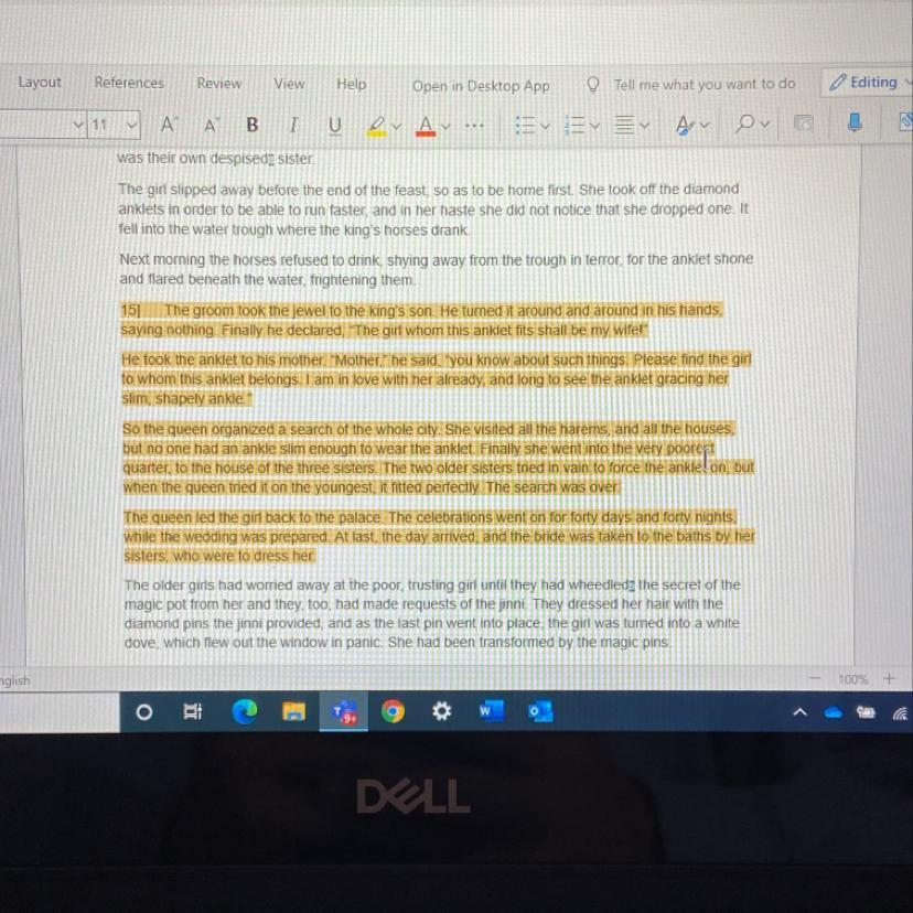 6. Rewrite paragraphs 15-18 in the story The Anklet ...