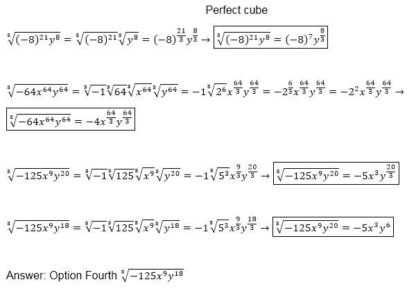 Which Expression Is A Perfect Cube 821y8 64x64y64 125x9y