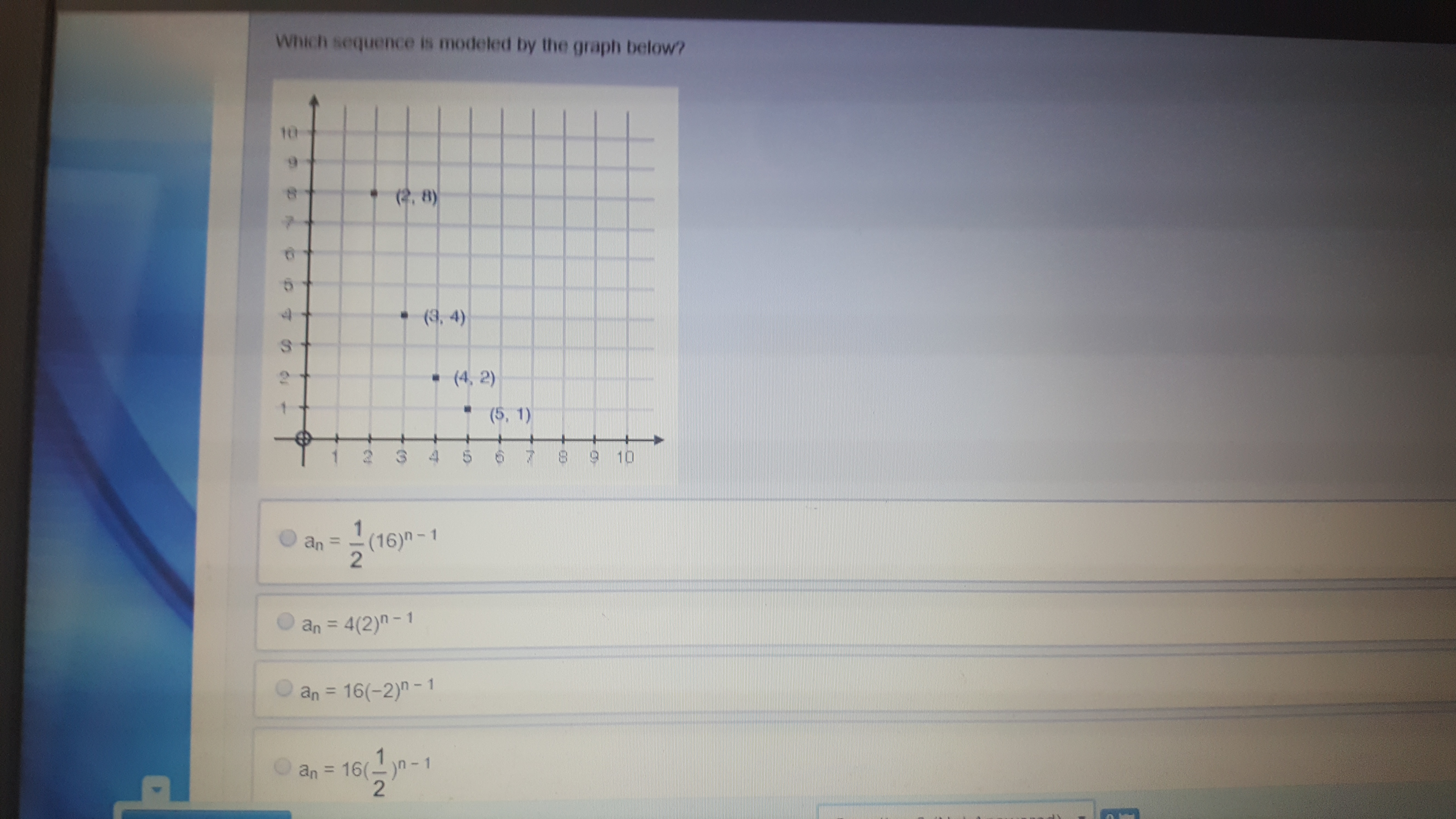 Which Sequence Is Modeled By The Graph Below Brainly Com