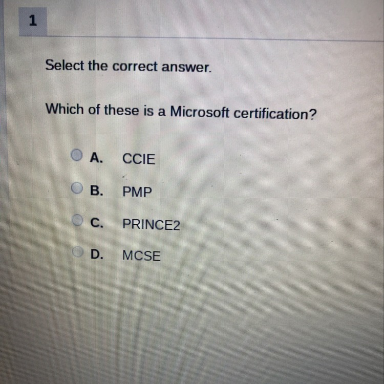 Which Of These Is A Microsoft Certification A Ccie B Pmp C