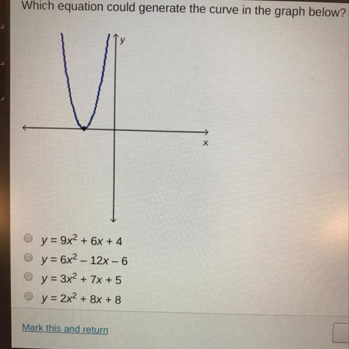 Which equation could generate the curve below? - Brainly com