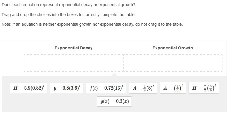 would really appreciate it does each equation represent exponential