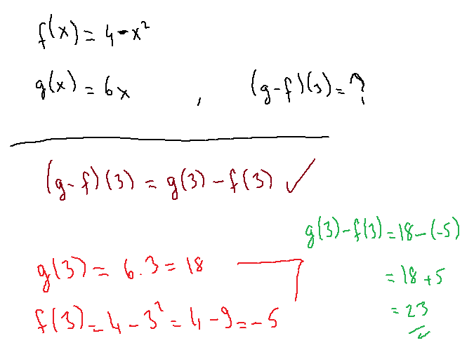 If f(x) = 4 - x2 and g(x) = 6x, which expression is