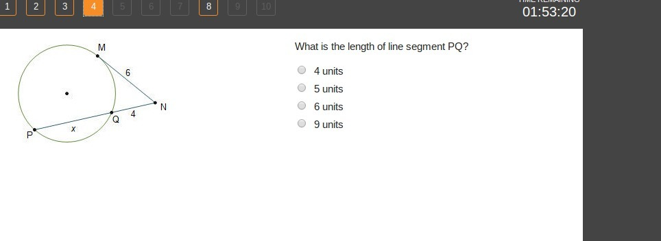 Plz Help What Is The Length Of Line Segment Pq 4 Units 5 Units 6