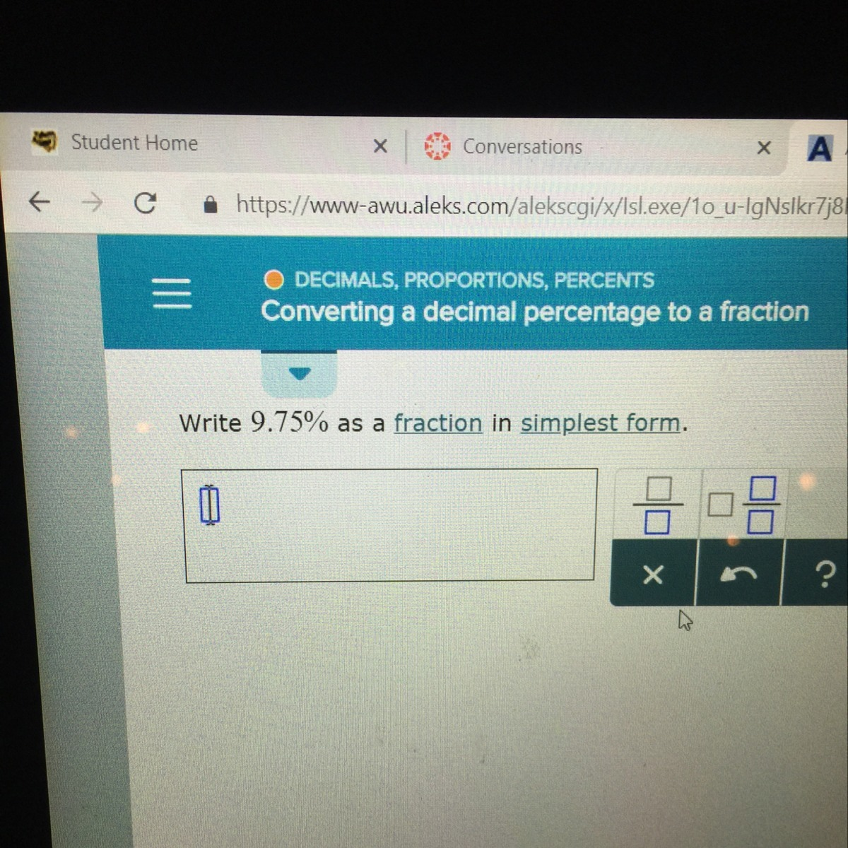 Write 9.75% As A Fraction In Simplest Form