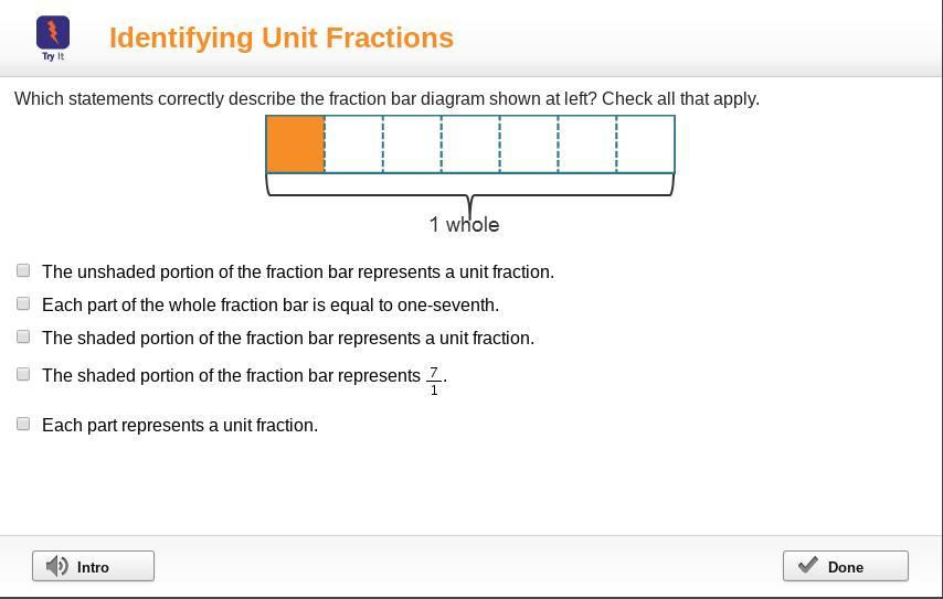 Which Statements Correctly Describe The Fraction Bar