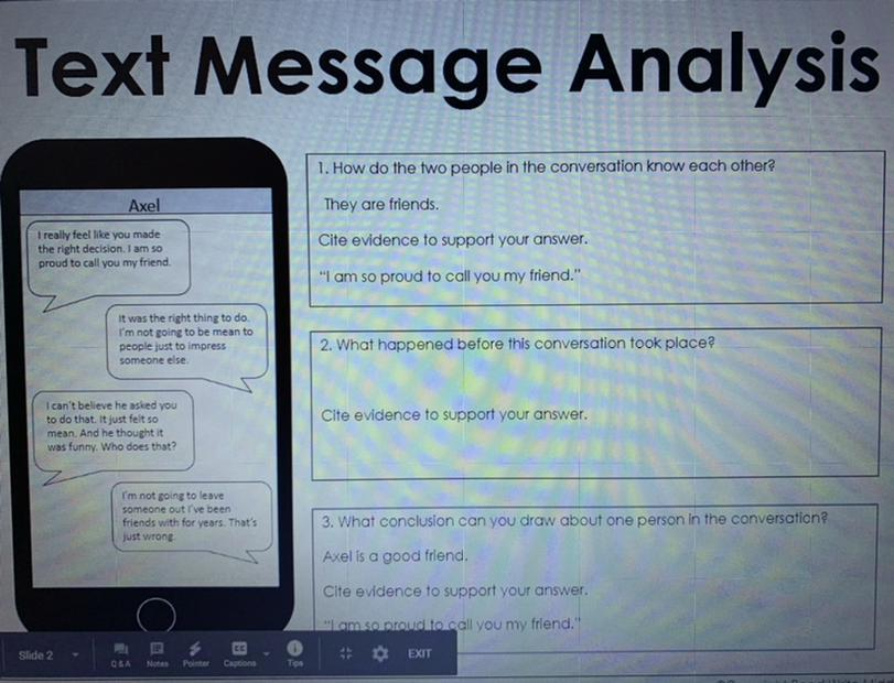 Help thank you this is text message analysis - Brainly.com