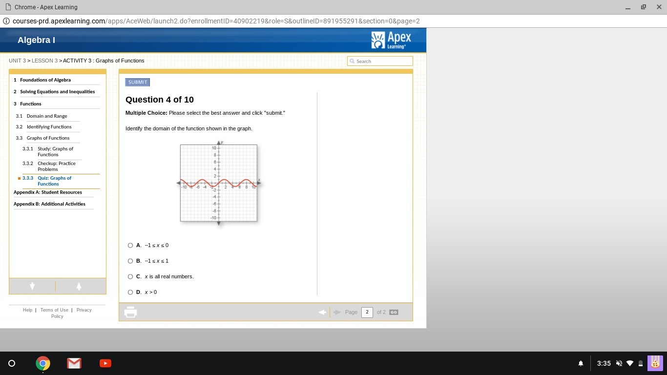 Identify the domain of the function shown in the graph