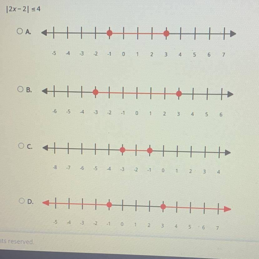 Which of the following graphs shows the solution set for ...
