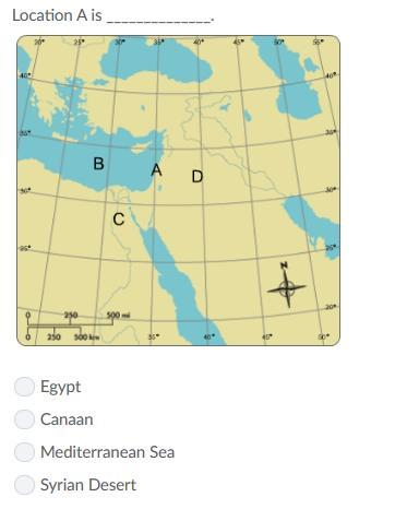 Location A is ______. A.Egypt b.canaan c.mediterranean sea d.syrian ...