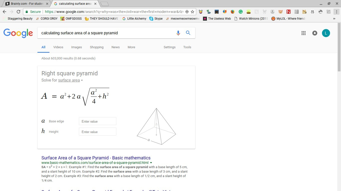 Download Png Surface Area And Volume Of Square Pyramid