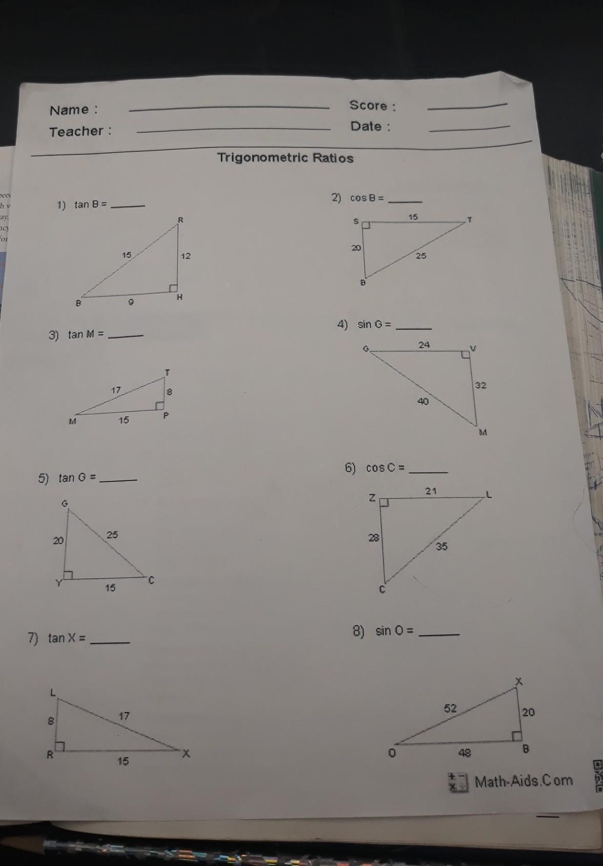 Trigonometric Ratios Worksheet From Math Aids Brainly Com [ 1689 x 1177 Pixel ]